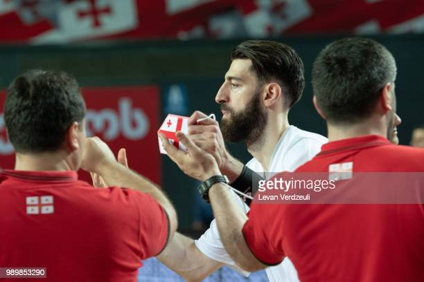 Tornike Shengelia of Georgia greets teammates during the FIBA Basketball World Cup Qualifier match between Georgia and Austria at Tbilisi Sports...