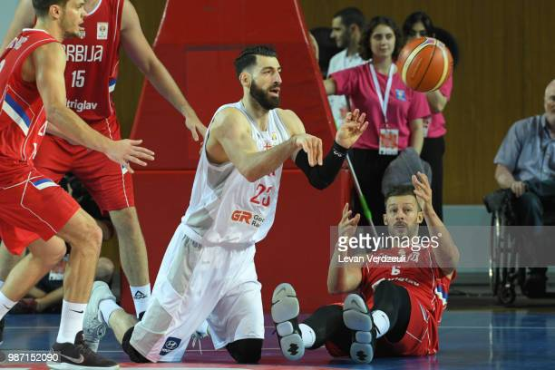 Tornike Shengelia of Georgia passes the ball during the FIBA Basketball World Cup Qualifier match between Georgia and Serbia at Tbilisi Sports Palace...