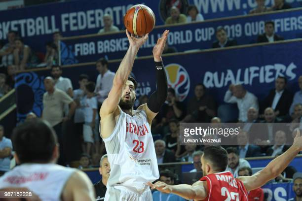 Tornike Shengelia of Georgia throws the ball during the FIBA Basketball World Cup Qualifier match between Georgia and Serbia at Tbilisi Sports Palace...