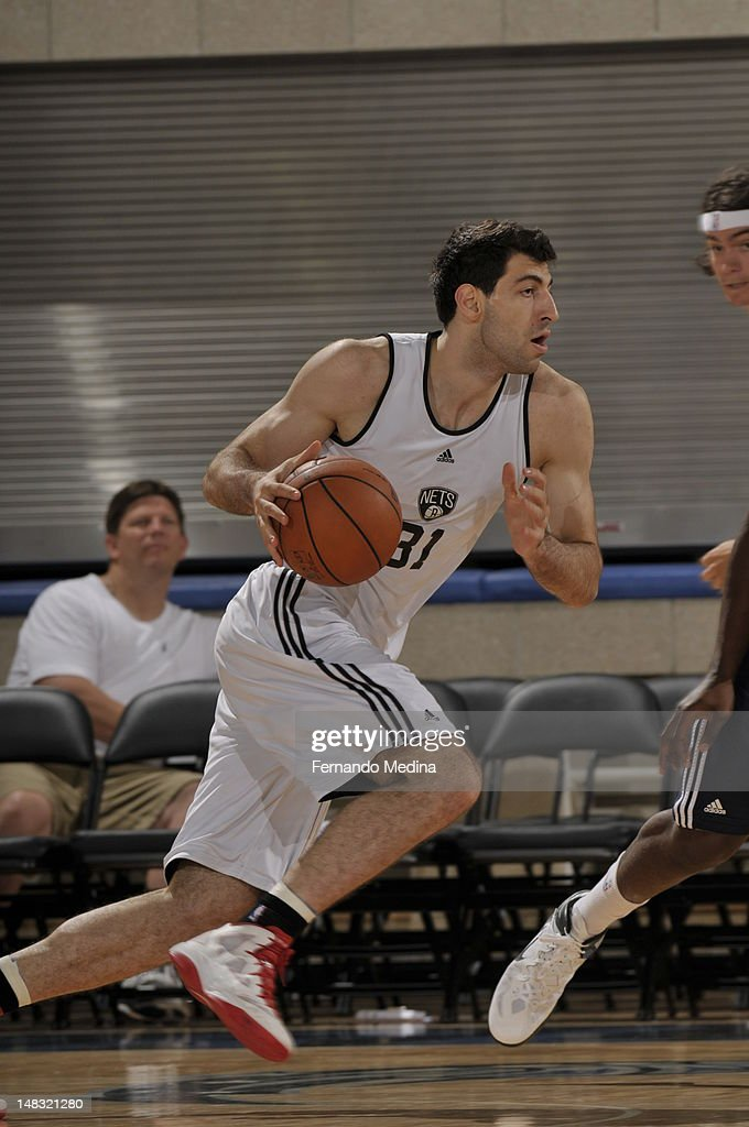 Tornike Shengelia #31 of the Brooklyn Nets dribbles against the Indiana Pacers during the 2012 Air Tran Airways Orlando Pro Summer League on July 13, 2012 at Amway Center in Orlando, Florida.