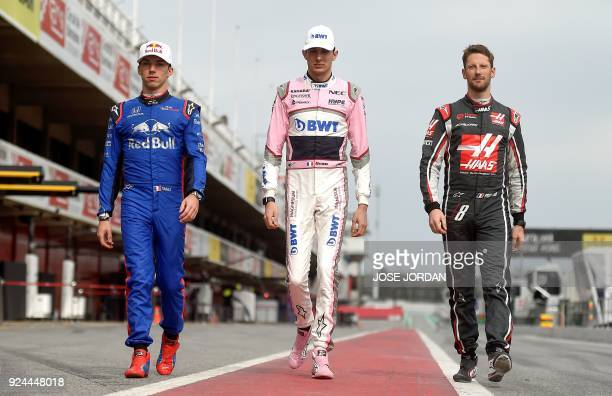 Toro Rosso French drives Pierre Gaslyat Force India French driver Esteban Ocon and Haas F1 TeamFerrari French driver Romain Grosjean pose at the...