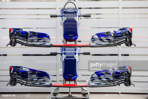 Toro Rosso front wings during the Formula One Belgian Grand Prix at Circuit de SpaFrancorchamps on August 24 2017 in Spa Belgium