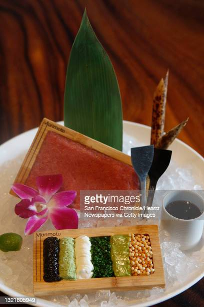 Toro tartare--wasabi, nori paste, and sour cream--at Morimoto, a japanese restaurant in Napa, Calif., in the new Riverfront complex on Thursday,...