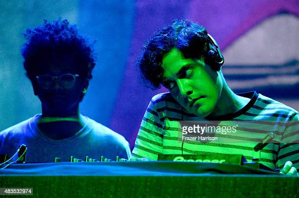 Toro Y Moi and Neon Indian perform onstage following Turbo Kid during the Sundance NEXT FEST at The Theatre at Ace Hotel on August 9 2015 in Los...