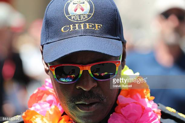 TORONTO ON JULY 3 Toront Police Chief Saunders during the the 2016 Toronto Pride parade along Yonge Street in Toronto July 3 2016
