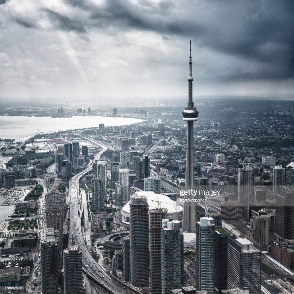 Toronto aerial view during a storm : Stock Photo