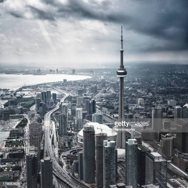 toronto aerial view during a storm - cn tower stock pictures, royalty-free photos & images