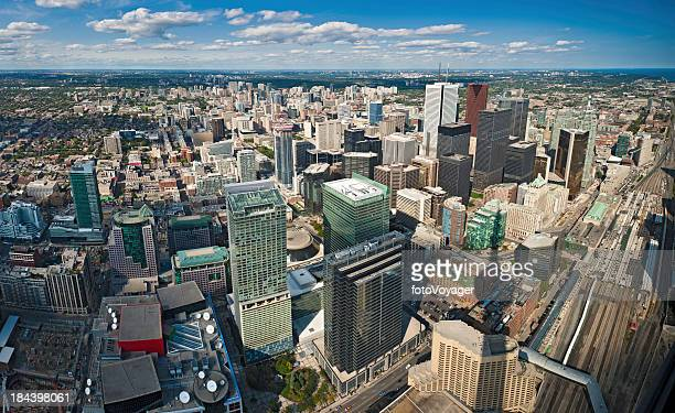 Toronto aerial view over downtown skyscrapers Canada