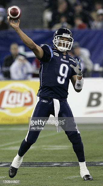 Toronto Argonauts QB Damon Allen throws a pass vs the Montreal Alouettes in CFL action at Rogers Centre in Toronto Canada October 28 2006