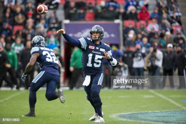 TORONTO ON NOVEMBER 19 Toronto Argonauts quarterback Ricky Ray makes a throw in the 1st quarter as the Toronto Argonauts host the Saskatchewan...