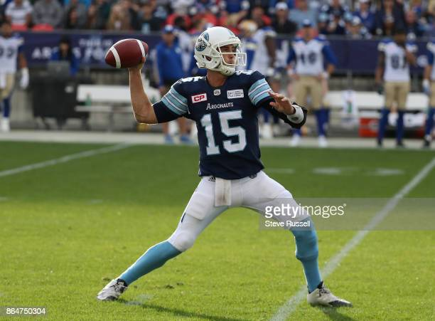 TORONTO ON OCTOBER 21 Toronto Argonauts quarterback Ricky Ray throws as the Toronto Argonauts play the Winnipeg Blue Bombers at BMO Field in Toronto...
