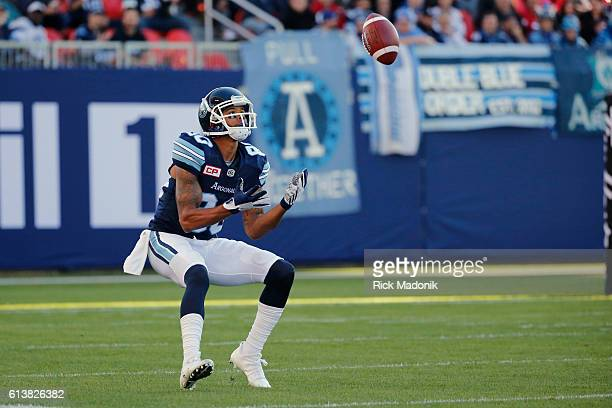 Toronto Argonauts wide receiver DeVier Posey waits on a kick off Toronto Argonauts vs Calgary Stampeders in CFL regular season action at BMO Field in...