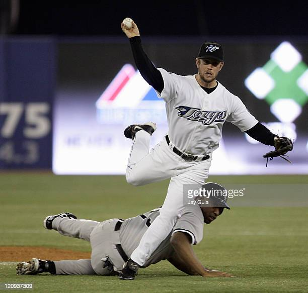 Toronto Blue Jays 2B Aaron Hill tagged out Chicago White Sox Jermaine Dye but his relay to 1st base was not in time to get AJ Pierzynski during the...