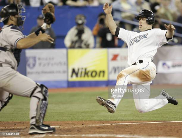 Toronto Blue Jays Aaron Hill successfully stole home tonight against pitcher Andy Pettitte of the New York Yankees Catcher Jorge Posada could not get...