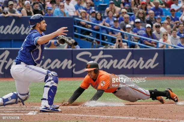 Toronto Blue Jays Catcher Luke Maile waits for the throw to home plate as Baltimore Orioles Second base Jonathan Schoop slides during the MLB game...