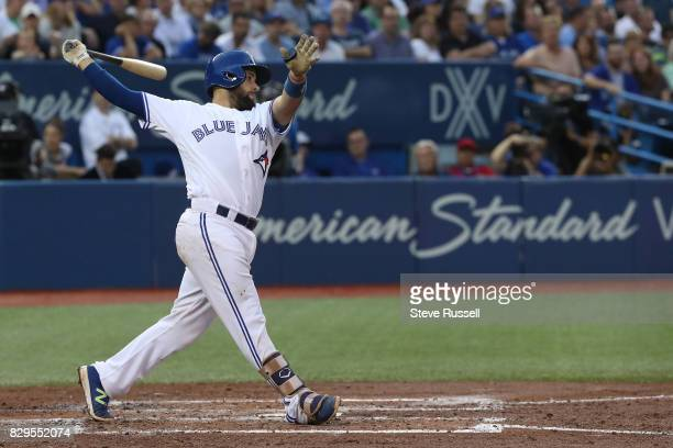 TORONTO ON AUGUST 9 Toronto Blue Jays catcher Raffy Lopez in his debut as the Toronto Blue Jays play the New York Yankees at the Rogers Centre in...