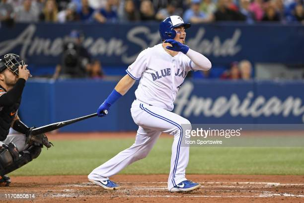 Toronto Blue Jays Catcher Reese McGuire hits during the regular season MLB game between the Baltimore Orioles and Toronto Blue Jays on September 24...