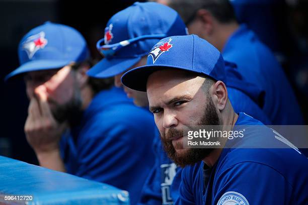 Toronto Blue Jays catcher Russell Martin looks on from the dugout late in the game Toronto Blue Jays V Minnesota Twins in MLB action at Rogers Centre...