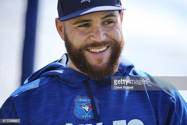 Toronto Blue Jays catcher Russell Martin smiles after taking batting practice Toronto Blue Jays Spring Training for the 2016 Major League Baseball...