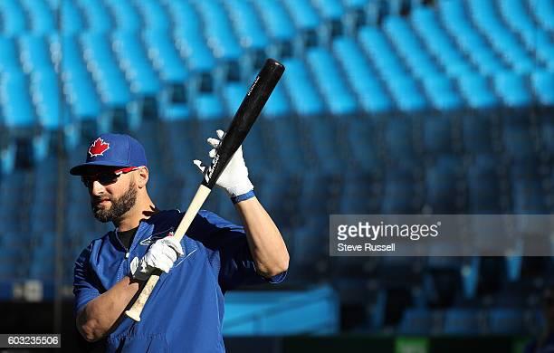 TORONTO ON SEPTEMBER 12 Toronto Blue Jays center fielder Kevin Pillar limbers up before batting practice as the Toronto Blue Jays play the Tampa Bay...