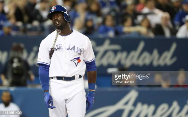TORONTO ON APRIL 2 Toronto Blue Jays centre field Anthony Alford reacts after striking out as the Toronto Blue Jays play the Baltimore Orioles at the...