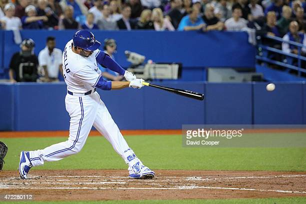 TORONTO ON MAY 5 Toronto Blue Jays Chris Colabello gets his first hit in his first plate appearance for the Jays during the game between the Toronto...