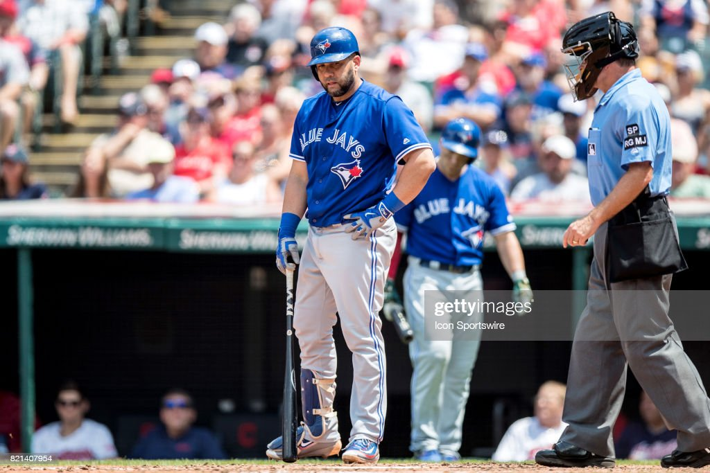 Toronto Blue Jays designated hitter Kendrys Morales (8) reacts after being called out on a check swing during the fourth inning of the Major League Baseball game between the Toronto Blue Jays and Cleveland Indians on July 23, 2017, at Progressive Field in Cleveland, OH.