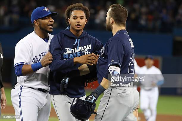 Toronto Blue Jays Edwin Encarnacion yells at Steven Souza Jr. At the end of the game as the Toronto Blue Jays play the Tampa Bay Rays in Toronto....