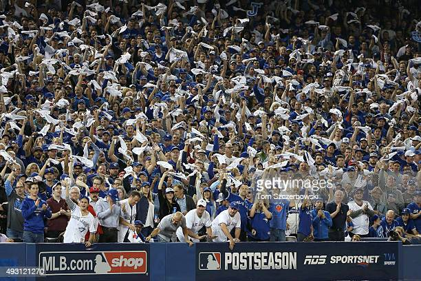 Toronto Blue Jays fans wave white hankies against the Texas Rangers in Game One of the American League Division Series during the 2015 MLB Playoffs...