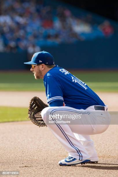 Toronto Blue Jays First baseman Justin Smoak during the regular season MLB game between the New York Yankees and the Toronto Blue Jays on September...