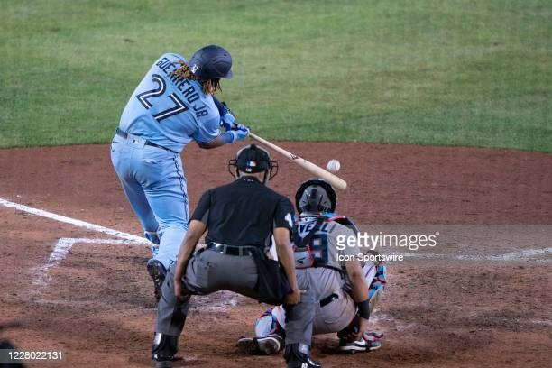 Toronto Blue Jays First Baseman Vladimir Guerrero Jr. Hits a home run during the seventh inning of the Major League Baseball game between the Miami...