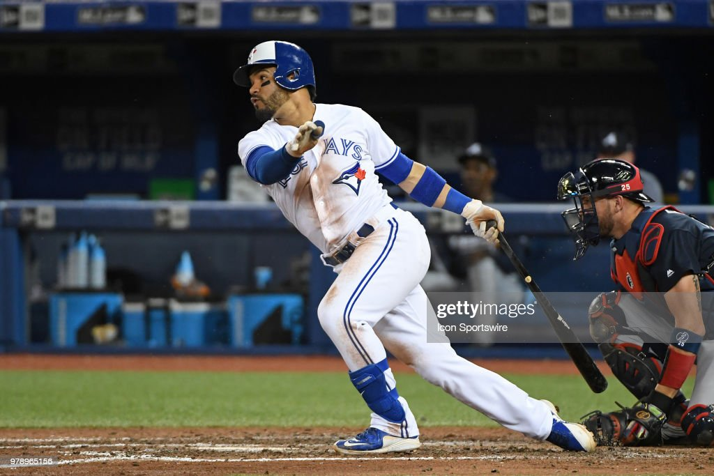 Toronto Blue Jays Infield Devon Travis (29) hits during the regular season MLB game between the Atlanta Braves and Toronto Blue Jays on June 19, 2018 at Rogers Centre in Toronto, ON.