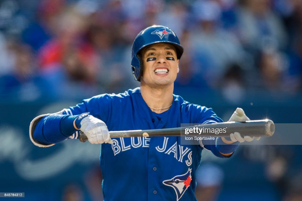 Toronto Blue Jays Infielder Ryan Goins (17) during the regular season MLB game between the Detroit Tigers and the Toronto Blue Jays on September 9, 2017 at Rogers Centre in Toronto, ON..