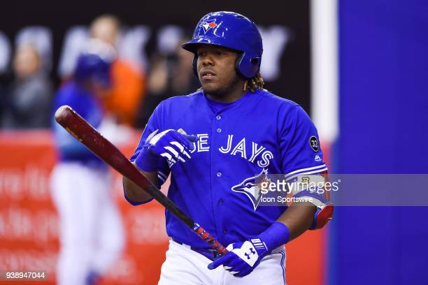 Toronto Blue Jays infielder Vladimir Guerrero Jr gets ready for batting during the St Louis Cardinals versus the Toronto Blue Jays spring training...