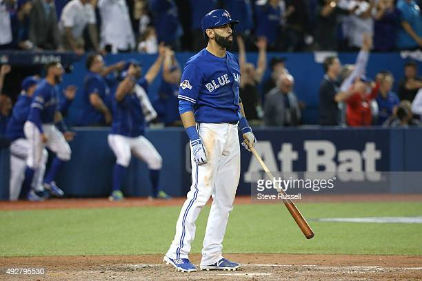 Toronto Blue Jays Jose Bautista celebrates his home run in the 7th inning The Toronto Blue Jays and Texas Rangers play game four of the MLB American...
