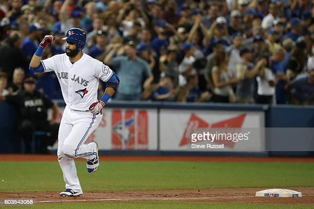 TORONTO ON SEPTEMBER 12 Toronto Blue Jays Jose Bautista hits a two run homer in the sixth inning as the Toronto Blue Jays play the Tampa Bay Rays in...