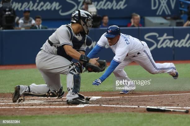 TORONTO ON AUGUST 10 Toronto Blue Jays left fielder Ezequiel Carrera opens the scoring on a Ryan Goins infield hit as the Toronto Blue Jays play the...