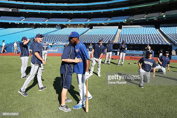 TORONTO ON JULY 26 Toronto Blue Jays left fielder Melvin Upton Jr greets former teammates He watched the game from the visitors dugout last night...