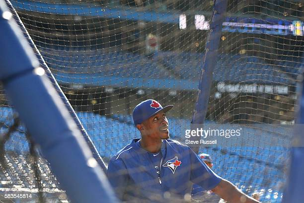 TORONTO ON JULY 26 Toronto Blue Jays left fielder Melvin Upton Jr takes batting practice He watched the game from the visitors dugout last night...
