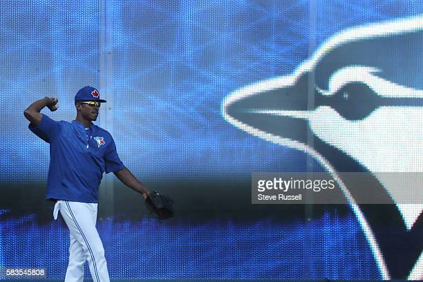 TORONTO ON JULY 26 Toronto Blue Jays left fielder Melvin Upton Jr throws in the outfield He watched the game from the visitors dugout last night...