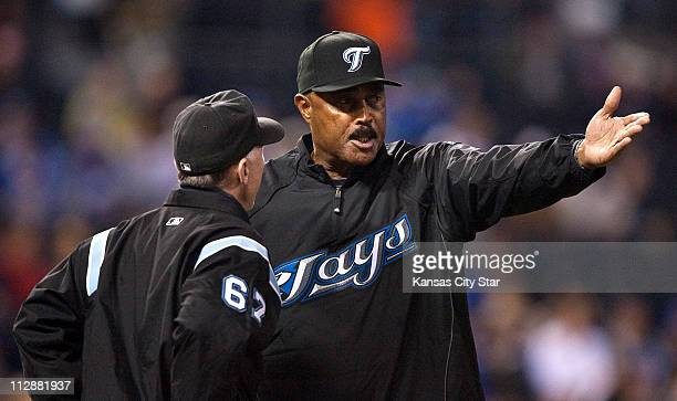 Toronto Blue Jays manager Cito Gaston argues a call with first base umpire Lance Barksdale during the fifth inning against the Kansas City Royals at...