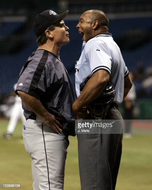 Toronto Blue Jays manager John Gibbons has a few words with home plate umpire CB Bucknor after being ejected in the third inning of Monday night's...