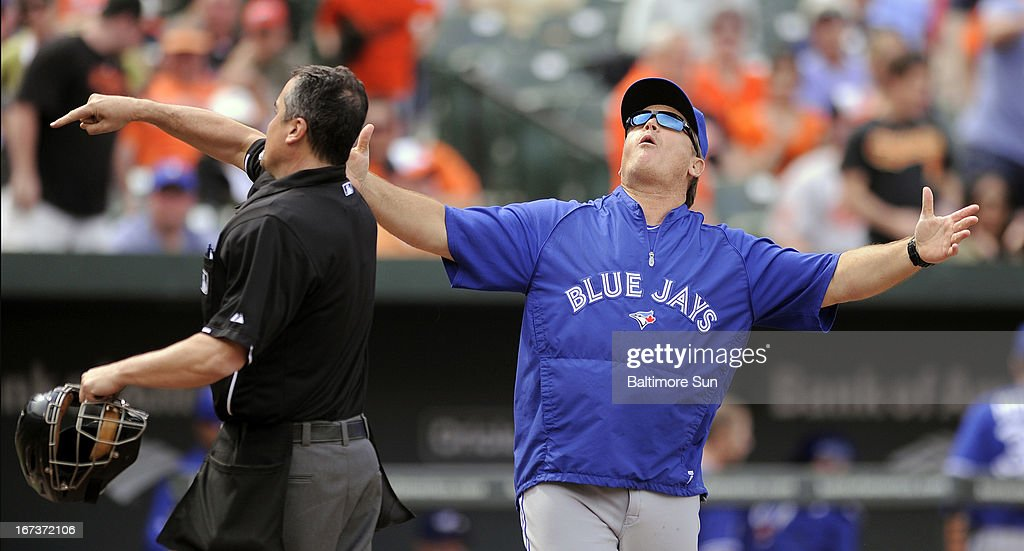 Toronto Blue Jays manager John Gibbons, right, is ejected by home plate umpire Mike DiMuro for arguing strikes in the ninth inning against the Baltimore Orioles at Camden Yards in Baltimore, Maryland, on Wednesday, April 23, 2013. Toronto won, 6-5, in 11 innings.