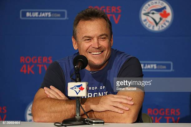 TORONTO ON OCTOBER 11 Toronto Blue Jays manager John Gibbons talks to media as the Toronto Blue Jays practice for the upcoming American League...