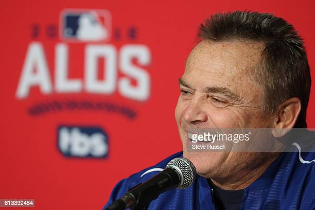 TORONTO ON OCTOBER 8 Toronto Blue Jays manager John Gibbons talks to media as Toronto Blue Jays and Texas Rangers prepare to play game three on...