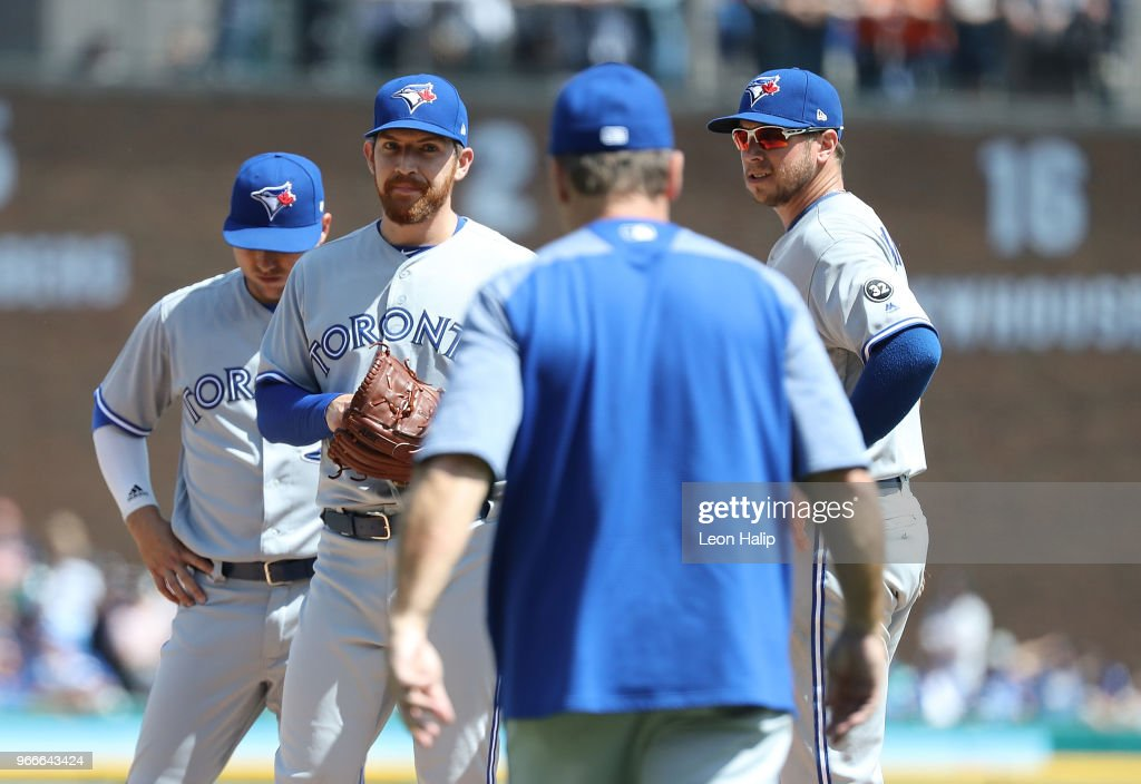 Toronto Blue Jays manager John Gibbons #5 walks to the mound to replace Danny Barnes #24 of the Toronto Blue Jays in the eighth inning of the game against the Detroit Tigers at Comerica Park on June 3, 2018 in Detroit, Michigan.