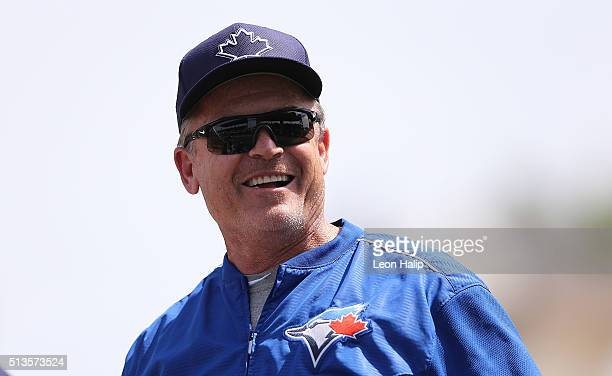 Toronto Blue Jays manager John Gibbons watches the action during the fourth inning of the Spring Training Game against the Pittsburgh Pirates on...