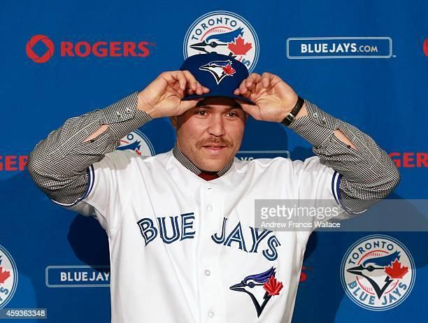 TORONTO ON NOVEMBER 20 Toronto Blue Jays newly acquired catcher Russell Martin at press conference atbthe Rogers Centre November 20 2014