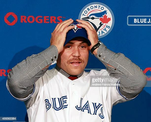 TORONTO ON NOVEMBER 20 Toronto Blue Jays newly acquired catcher Russell Martin during a press conference at Rogers Centre November 20 2014