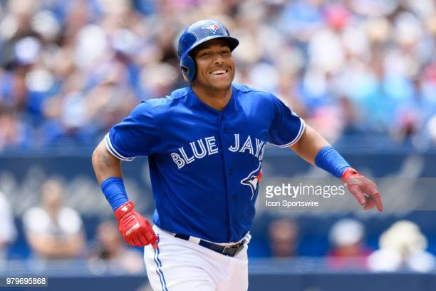 Toronto Blue Jays Outfield Teoscar Hernandez reacts after hitting an rbi single during the MLB regular season game between the Toronto Blue Jays and...
